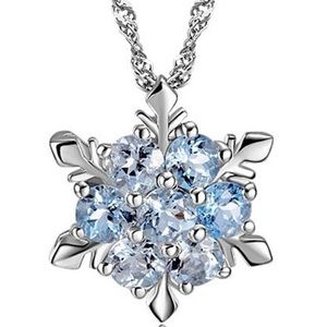 Frozen Ice Snowflake Blue Crystal Necklace